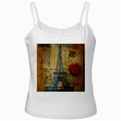 Vintage Stamps Postage Poppy Flower Floral Eiffel Tower Vintage Paris White Spaghetti Top