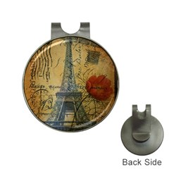 Vintage Stamps Postage Poppy Flower Floral Eiffel Tower Vintage Paris Hat Clip with Golf Ball Marker