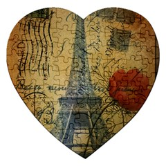 Vintage Stamps Postage Poppy Flower Floral Eiffel Tower Vintage Paris Jigsaw Puzzle (Heart)
