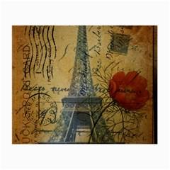 Vintage Stamps Postage Poppy Flower Floral Eiffel Tower Vintage Paris Glasses Cloth (small)