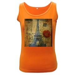 Vintage Stamps Postage Poppy Flower Floral Eiffel Tower Vintage Paris Womens  Tank Top (Dark Colored)