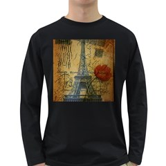 Vintage Stamps Postage Poppy Flower Floral Eiffel Tower Vintage Paris Mens' Long Sleeve T Shirt (dark Colored)