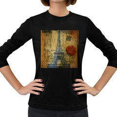Vintage Stamps Postage Poppy Flower Floral Eiffel Tower Vintage Paris Womens' Long Sleeve T-shirt (Dark Colored)