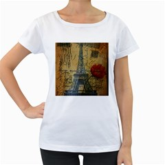 Vintage Stamps Postage Poppy Flower Floral Eiffel Tower Vintage Paris Womens' Maternity T-shirt (White)