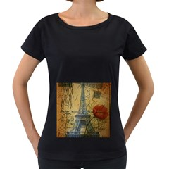 Vintage Stamps Postage Poppy Flower Floral Eiffel Tower Vintage Paris Womens' Maternity T Shirt (black)