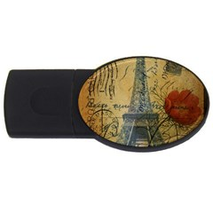Vintage Stamps Postage Poppy Flower Floral Eiffel Tower Vintage Paris 4GB USB Flash Drive (Oval)
