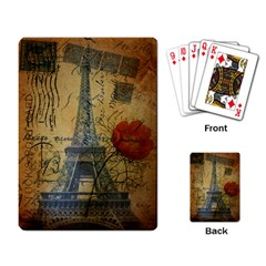 Vintage Stamps Postage Poppy Flower Floral Eiffel Tower Vintage Paris Playing Cards Single Design