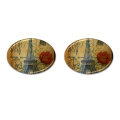 Vintage Stamps Postage Poppy Flower Floral Eiffel Tower Vintage Paris Cufflinks (Oval)