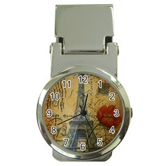 Vintage Stamps Postage Poppy Flower Floral Eiffel Tower Vintage Paris Money Clip with Watch
