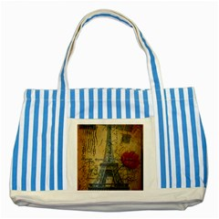 Vintage Stamps Postage Poppy Flower Floral Eiffel Tower Vintage Paris Blue Striped Tote Bag