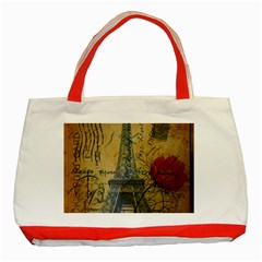 Vintage Stamps Postage Poppy Flower Floral Eiffel Tower Vintage Paris Classic Tote Bag (Red)