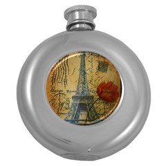 Vintage Stamps Postage Poppy Flower Floral Eiffel Tower Vintage Paris Hip Flask (Round)