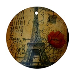 Vintage Stamps Postage Poppy Flower Floral Eiffel Tower Vintage Paris Round Ornament (Two Sides)