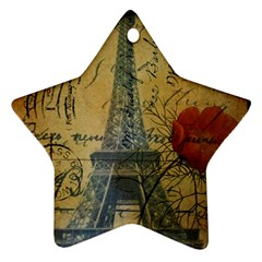 Vintage Stamps Postage Poppy Flower Floral Eiffel Tower Vintage Paris Star Ornament (Two Sides)