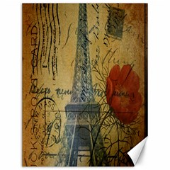 Vintage Stamps Postage Poppy Flower Floral Eiffel Tower Vintage Paris Canvas 12  x 16  (Unframed)