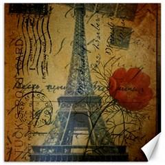 Vintage Stamps Postage Poppy Flower Floral Eiffel Tower Vintage Paris Canvas 16  X 16  (unframed)
