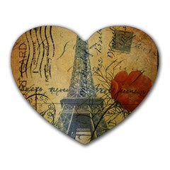 Vintage Stamps Postage Poppy Flower Floral Eiffel Tower Vintage Paris Mouse Pad (Heart)