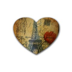 Vintage Stamps Postage Poppy Flower Floral Eiffel Tower Vintage Paris Drink Coasters 4 Pack (Heart)
