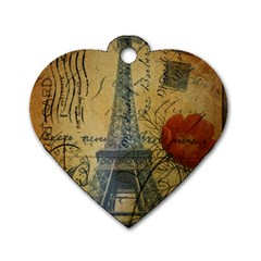 Vintage Stamps Postage Poppy Flower Floral Eiffel Tower Vintage Paris Dog Tag Heart (One Sided)