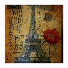 Vintage Stamps Postage Poppy Flower Floral Eiffel Tower Vintage Paris Glasses Cloth (Medium, Two Sided)
