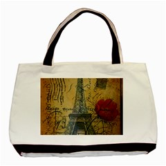 Vintage Stamps Postage Poppy Flower Floral Eiffel Tower Vintage Paris Twin-sided Black Tote Bag
