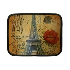 Vintage Stamps Postage Poppy Flower Floral Eiffel Tower Vintage Paris Netbook Case (small)