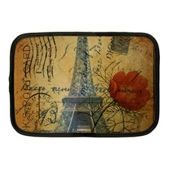 Vintage Stamps Postage Poppy Flower Floral Eiffel Tower Vintage Paris Netbook Case (Medium)