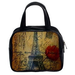 Vintage Stamps Postage Poppy Flower Floral Eiffel Tower Vintage Paris Classic Handbag (Two Sides)