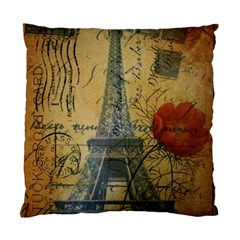 Vintage Stamps Postage Poppy Flower Floral Eiffel Tower Vintage Paris Cushion Case (Two Sided)