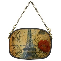 Vintage Stamps Postage Poppy Flower Floral Eiffel Tower Vintage Paris Chain Purse (Two Sided)