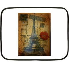 Vintage Stamps Postage Poppy Flower Floral Eiffel Tower Vintage Paris Mini Fleece Blanket (Two Sided)