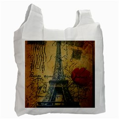 Vintage Stamps Postage Poppy Flower Floral Eiffel Tower Vintage Paris Recycle Bag (Two Sides)