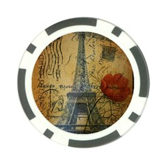 Vintage Stamps Postage Poppy Flower Floral Eiffel Tower Vintage Paris Poker Chip 10 Pack