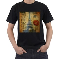 Vintage Stamps Postage Poppy Flower Floral Eiffel Tower Vintage Paris Mens' T-shirt (Black)