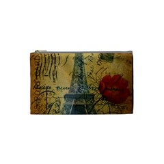 Vintage Stamps Postage Poppy Flower Floral Eiffel Tower Vintage Paris Cosmetic Bag (Small)
