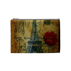 Vintage Stamps Postage Poppy Flower Floral Eiffel Tower Vintage Paris Cosmetic Bag (Medium)