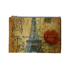 Vintage Stamps Postage Poppy Flower Floral Eiffel Tower Vintage Paris Cosmetic Bag (Large)