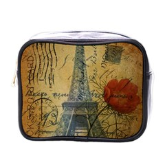 Vintage Stamps Postage Poppy Flower Floral Eiffel Tower Vintage Paris Mini Travel Toiletry Bag (One Side)