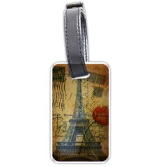 Vintage Stamps Postage Poppy Flower Floral Eiffel Tower Vintage Paris Luggage Tag (One Side)