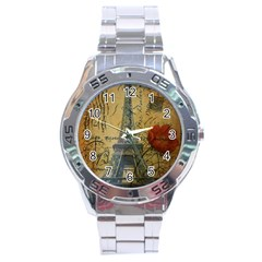 Vintage Stamps Postage Poppy Flower Floral Eiffel Tower Vintage Paris Stainless Steel Watch (Men s)