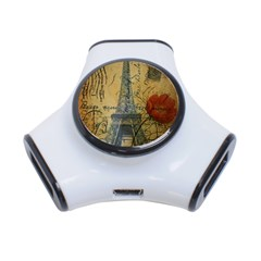 Vintage Stamps Postage Poppy Flower Floral Eiffel Tower Vintage Paris 3 Port Usb Hub