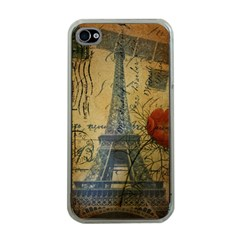 Vintage Stamps Postage Poppy Flower Floral Eiffel Tower Vintage Paris Apple iPhone 4 Case (Clear)
