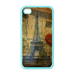 Vintage Stamps Postage Poppy Flower Floral Eiffel Tower Vintage Paris Apple Iphone 4 Case (color)