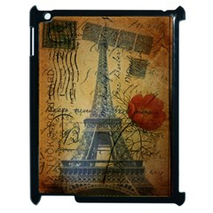 Vintage Stamps Postage Poppy Flower Floral Eiffel Tower Vintage Paris Apple iPad 2 Case (Black)