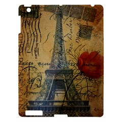 Vintage Stamps Postage Poppy Flower Floral Eiffel Tower Vintage Paris Apple iPad 3/4 Hardshell Case