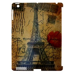 Vintage Stamps Postage Poppy Flower Floral Eiffel Tower Vintage Paris Apple iPad 3/4 Hardshell Case (Compatible with Smart Cover)