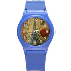 Vintage Stamps Postage Poppy Flower Floral Eiffel Tower Vintage Paris Plastic Sport Watch (Small)