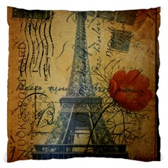 Vintage Stamps Postage Poppy Flower Floral Eiffel Tower Vintage Paris Large Cushion Case (Single Sided)