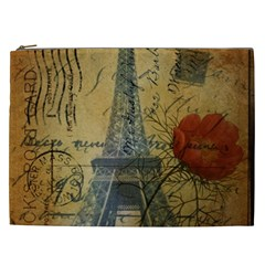 Vintage Stamps Postage Poppy Flower Floral Eiffel Tower Vintage Paris Cosmetic Bag (XXL)