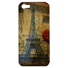 Vintage Stamps Postage Poppy Flower Floral Eiffel Tower Vintage Paris Apple iPhone 5 Hardshell Case
